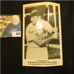 "Stan Musial autographed Baseball Card ""Compliments of Stan Musial & Biggie's Restaurant…St. Louis, M"