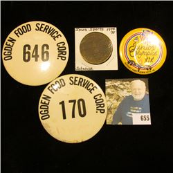 "Pair of Pinbacks ""Ogden Food Service 646"" & ""Ogden Food Service Corp. 170""; pinback ""Junior Olympics"