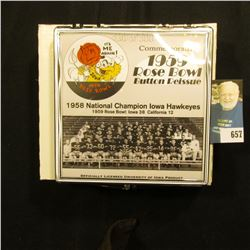 Commemorative 1959 Rose Bowl Button Reissue 50th Anniversary Edition  Pinback, no. 130 of 500. Doc'