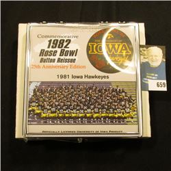 """Commemorative 1982 Rose Bowl Button Reissue 25th Anniversary Edition"" Pinback, no. 129 of 500. Doc'"