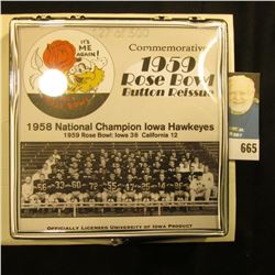 Commemorative 1959 Rose Bowl Button Reissue 50th Anniversary Edition  Pinback, no. 127 of 500. Doc'