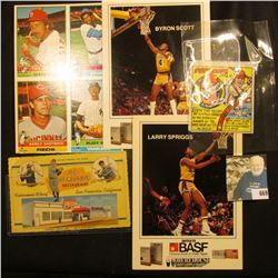 "1979 Topps Chewing Gum ""Pete Rose 1st Base"" wrapper; Larry Spriggs & Byron Scott large format Basket"