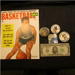 """1954 Basketball 25c"" Magazine by Dell; Series 1934 D Five Dollar Federal Reserve Note from St. Loui"