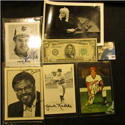 "Series 1934 B Five Dollar Federal Reserve Note from St. Louis, Mo.; ""Rosey Grier"" Autographed card;"