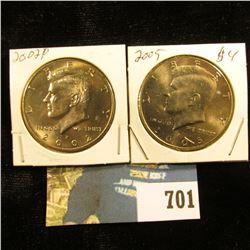 2002 P & 2005 P Gem BU Kennedy Half Dollars.