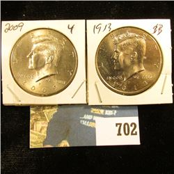 2009 P & 2013 P Gem BU Kennedy Half Dollars.