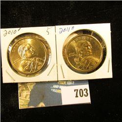 "20`0 D & 2011 D Sacagawea ""Native American"" Dollar Coins, Gem BU."
