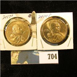 "2013 D & 2014 P Sacagawea ""Native American"" Dollar Coins, Gem BU."