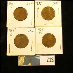 1917 P, 18 P, 18 D, & 15 P  U.S. Lincoln Cents, G-VG.