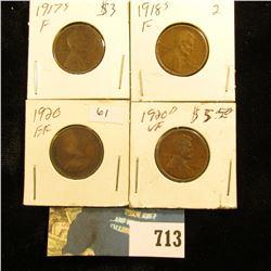 1917S Fine, 18S Fine, 20P EF, & 20D VF U.S. Lincoln Cents.