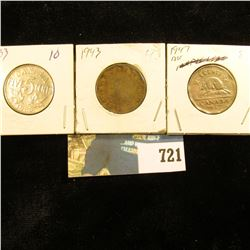 1933, 43, & 47 ML Canada Nickels. Grades up to EF.
