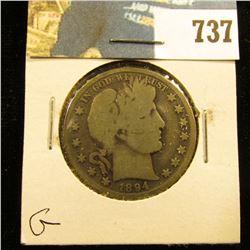 1894 P Barber Half Dollar, G.