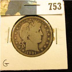 1901 P Barber Half Dollar, G