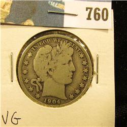 1904 P Barber Half Dollar, VG