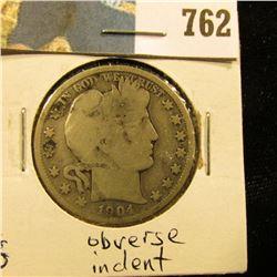 1904 S Barber Half Dollar, G, obverse indent.