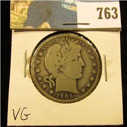 1905 P Barber Half Dollar, VG