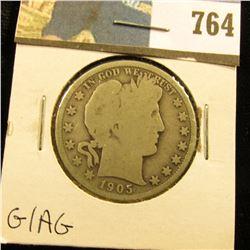 1905 O Barber Half Dollar, G/AG.