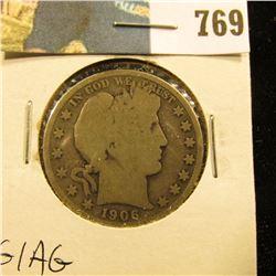 1906 S Barber Half Dollar, G/AG.