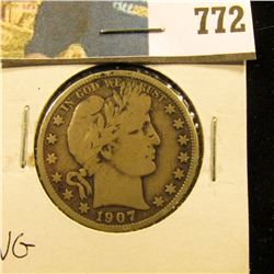 1907 D Barber Half Dollar, VG