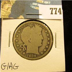 1908 P Barber Half Dollar, G/AG.