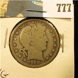 1908 D Barber Half Dollar, VG.