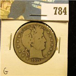1911 S Barber Half Dollar, G.