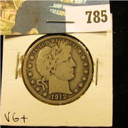 1912 P Barber Half Dollar, VG.