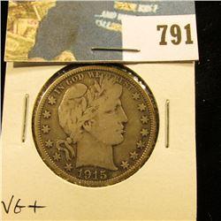 1915 D Barber Half Dollar, VG.
