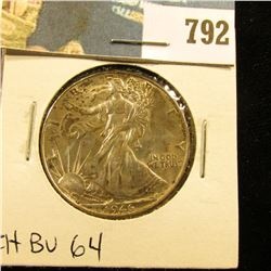 1946 P U.S. Walking Liberty Half Dollar, Original CH BU Toned 64.