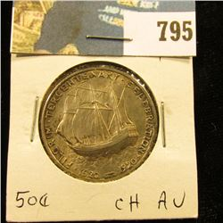 1920 Pilgrim Tercentenary Commemorative Half Dollar, Choice AU with original toning.