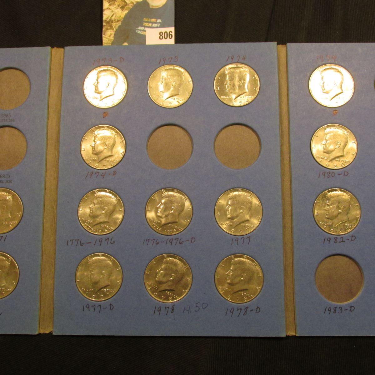 1964-82 Partial Set of Kennedy Half Dollars in a blue Whitman folder  All  BU or toned BU
