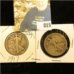 1917 P & 18 P U.S. Walking Liberty Half Dollars, both Good condition.