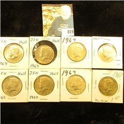 (8) 1967 P 40% Silver Kennedy Half Dollars, EF-BU.