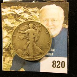 1938 D Walking Liberty Half Dollar, VG+. Scarce date.