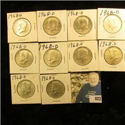 (10) 1968 D 40% Silver Kennedy Half Dollars, AU-BU.