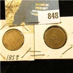 1858 Flying Eagle (damaged) & 1859 Indian Head Cent, Good.