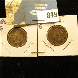 1862 & 1863 Civil War Indian Head Cents. Both Good condition.