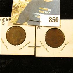 1864 Bronze & 1865 Civil War Indian Head Cents. Both Good condition.