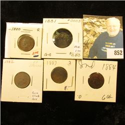 1880, 81, 82, 83, & 84 Indian Head Cents. AG-G.