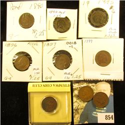 1890, 91, 92, 93, 95, 96, 97, 99, & 1900 Indian Head Cents. G-VG.