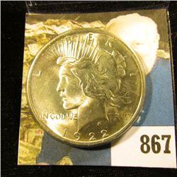 1922 P U.S. Peace Silver Dollar. Gem BU.