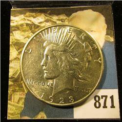 1923 S U.S. Peace Silver Dollar. AU.