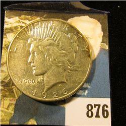 1926 S U.S. Peace Silver Dollar. EF.