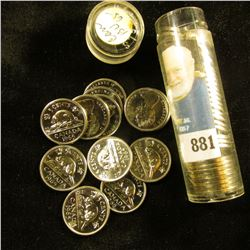 1965 Canada 'Beaver' Original Brilliant Uncirculated Roll of Nickels in a plastic tube. (40 pcs.).