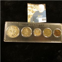 1929 U.S. Year Five-Piece Set of Coins, Cent thru Half-Dollar.