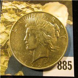 1927 D U.S. Peace Silver Dollar, AU-BU.