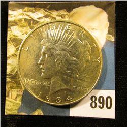 1934 D U.S. Peace Silver Dollar, AU-BU.