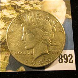 1934 S U.S. Peace Silver Dollar, VF.