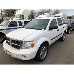 2008 DODGE DURANGO SLT, SUV, WHITE, GAS, AUTOMATIC, VIN#1D8HB48248F112921, 296,258KMS,
