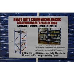 HEAVY DUTY COMMERCIAL RACKS FOR WAREHOUSE - 6 INDIVIDUAL SECTIONS, TOTAL 12 UPRIGHTS, 48 BEAMS AND